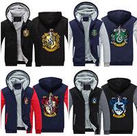 Harry Potter Hooded Sweater Winter Sweatshirt Zipper Jacket Warm Coat Cosplay