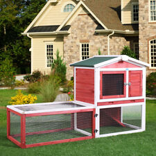 "61"" Wooden Rabbit House Hutch Chicken Coop Bunny Small Animal Cage w/ Tray Run"