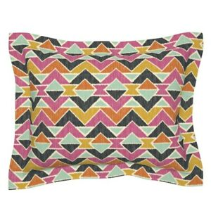 Geometric Chevron Ikat Arrows Pink Black A162 Pillow Sham by Roostery
