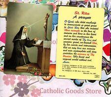 Saint St. Rita  - Prayer - Soft Plastic stock Holy Card