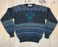 McGregor - Vtg 80s-90s Gray Abstract Acrylic/Nylon Crewneck Sweater, Mens LARGE