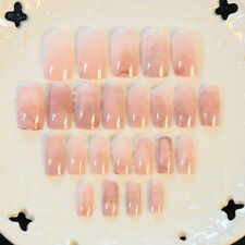 New Fashion 24pcs Smooth Marble False Nails Long Square Full Designed Nails tips