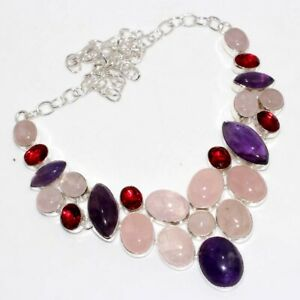 "Rose Quartz Amethyst Garnet 925 Silver Plated Big Cluster Necklace 17"" GW"