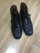 TODS MEN DARK BROWN LEATHER LACE UP ANKLE BOOT SIZE UK 9.5 VGC