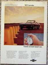 MAGAZINE ADVERTISEMENT ~ 1967 CORVETTE ~ GOOD SECOND HAND CAR
