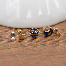 5Pcs Moon Star Planet Stud Earrings Charm Ear Stud Women Jewelry Birthday Gifts