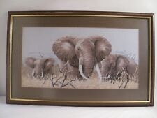 Embroidered Elephant Family Picture Hand Stitched Framed Picture