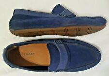 Cole Haan 9M Mens Navy Blue Suede Handsewn Leather Casual Penny Loafers Shoes