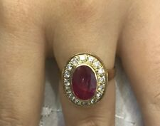 14k Solid Yellow Gold Solitaire Ring 5.28GM With Natural Ruby Oval Cut D: 0.52CT