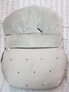 Uzturre Leatherette Carseat Footmuff Cover Grey Star with Fleece lining - BNIP