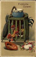 Frohe Ostern 1921 Prägekarte Hühner im Käfig krabschen nach Futter Happy Easter