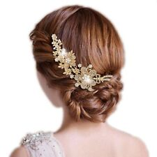 Bridesmaid Bridal Wedding Gold Tone Austrian Crystal Flower Hair Comb Headpiece