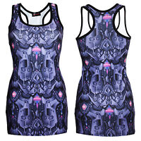 Purple Jeweled Steel Armour Panels Metallic Body All Over Print Long Vest Top