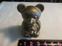 Vintage Silver Tone Metal Bear And Cub Coin Bank--missing the bottom plate