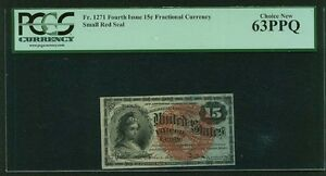"""1869-75  15 CENTS FRACTIONAL CURRENCY FR-1271 CERTIFIED PCGS """"CHOICE NEW-63-PPQ"""