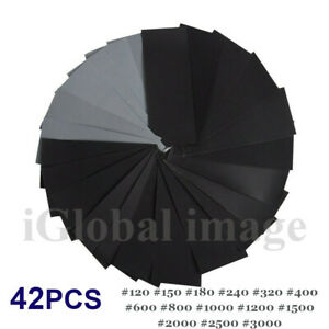 36/42 Pcs Mixed Wet and Dry Waterproof Sandpaper Assorted Grit Sheets 120-3000