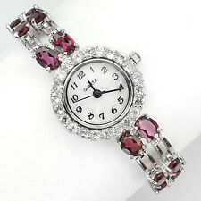 Sterling Silver 925 Genuine Natural Rhodolite Garnet & Zirconia Watch 7 Inch
