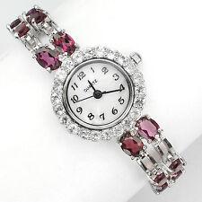 Sterling Silver 925 Genuine Natural Rhodolite Garnet & Zirconia Watch 7 Inch