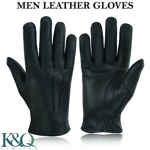 MENS POLICE DRIVING GLOVES TOP QUALITY SOFT GENUINE REAL LEATHER - BLACK / BROWN