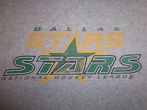 Vintage NHL Dallas Stars Hockey Logo Gray Graphic Print Jersey Shirt - XL