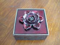 Vintage Axco Pewter W/enamel Small Square Trinket Jewelry Box (Rare)