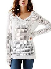 Women GUESS VALENCIA MESH OPEN STITCH KNIT SWEATER white - size L