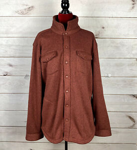 LL Bean Mens Sweater Fleece Jacket Polyester Snaps XL