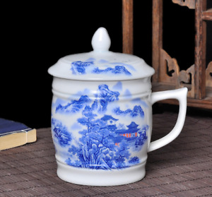 NEW Chinese Ceramic Blue and white Porcelain Tea Cup Mug with lid 500ml Gift Hot