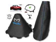 Gear & Handbrake Gaiter For Mazda MX5 Roadster ND 14-18 Blue Logo + Frame