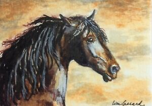aceo original painting sunset stallion