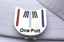 One Putt Golf Putting Alignment Tool Ball Marker with Hat Clip- Red White Blue