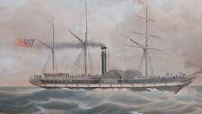 1841 HAND COLOUR AQUATINT PRINT THE GENERAL STEAM NAVIGATION COMPANY SHIP VIVID