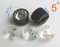 20x Led Lens 5 Degree For 1w 3w Lamp & Black Holder