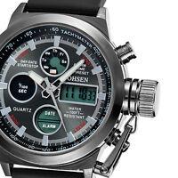OHSEN Mens Sport Army Date Day Alarm Wrist Watch Quartz Analog Digital Silicone