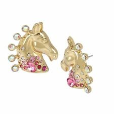 Betsey Johnson Magical Show Horse Button Earrings Goldtone Stud Rhinestone