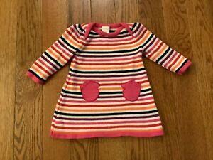 "EUC GYMBOREE Girls SZ 3-6M Cotton Sweater Knit  Dress w/ ""Mitten"" Shape Pockets"