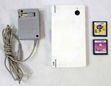 Nintendo DS White System w/ AC Adapter + 2 Games Good Hinges Tested Works