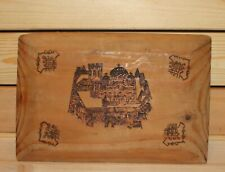Antique pyrography wood wall hanging plaque fortress church
