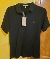 Burberry Brit men's black short sleeve Gray Nova check placket polo size Medium