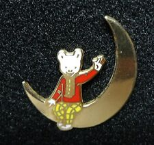Cloisonne Rupert Bear Cut Out Golden Crescent Moon British Comic Strip Lapel Pin