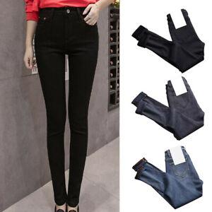 Women High Waist Thermal Jeans Fleece Lined Denim Pants Trousers Skinny Pants AU