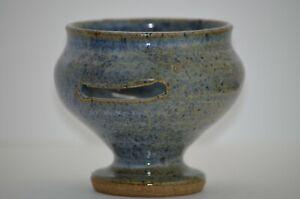 Glazed Stoneware Pottery Footed Bowl Artist Mark
