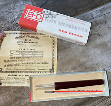 Vintage B-D Red Flash Fever Thermometer In Original Box And Case 10419 1960's
