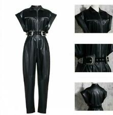 Womens Wide-sleeve Tapered Jumpsuit Belted Leather OL Designer Romper Club Party