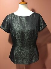 Halogen Nordstrom Metallic Short Sleeve Blouse Top Size M