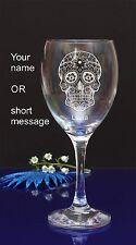 SUGAR Skull personalizzata incisa Vino Bicchiere compleanno, regalo di Natale 137