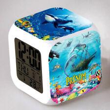 Reveil cube led lumière nuit clock dauphin personnalisé prénom réf 31
