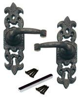 Door cylinder pull lock cover Escutcheon Tudor Fleur De Lys lis antique black
