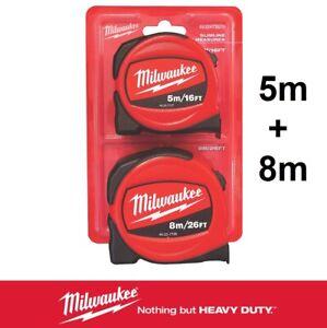 Milwaukee Tape Measure x2 Professional Measuring Tape 5m + 8m Metric Imperial