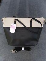 Fashion Ladies Niccole Brown Champagne / Black leather Shoulder bag Large